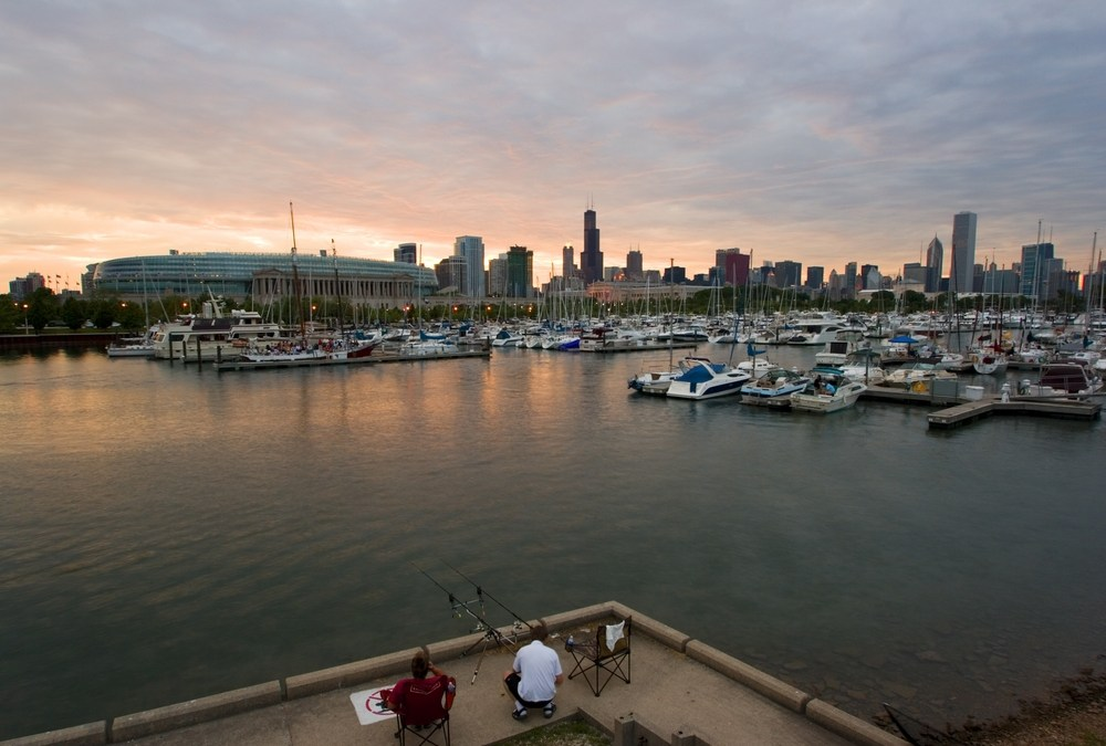Anglers overlook Lake Michigan with downtown Chicago on the horizon.