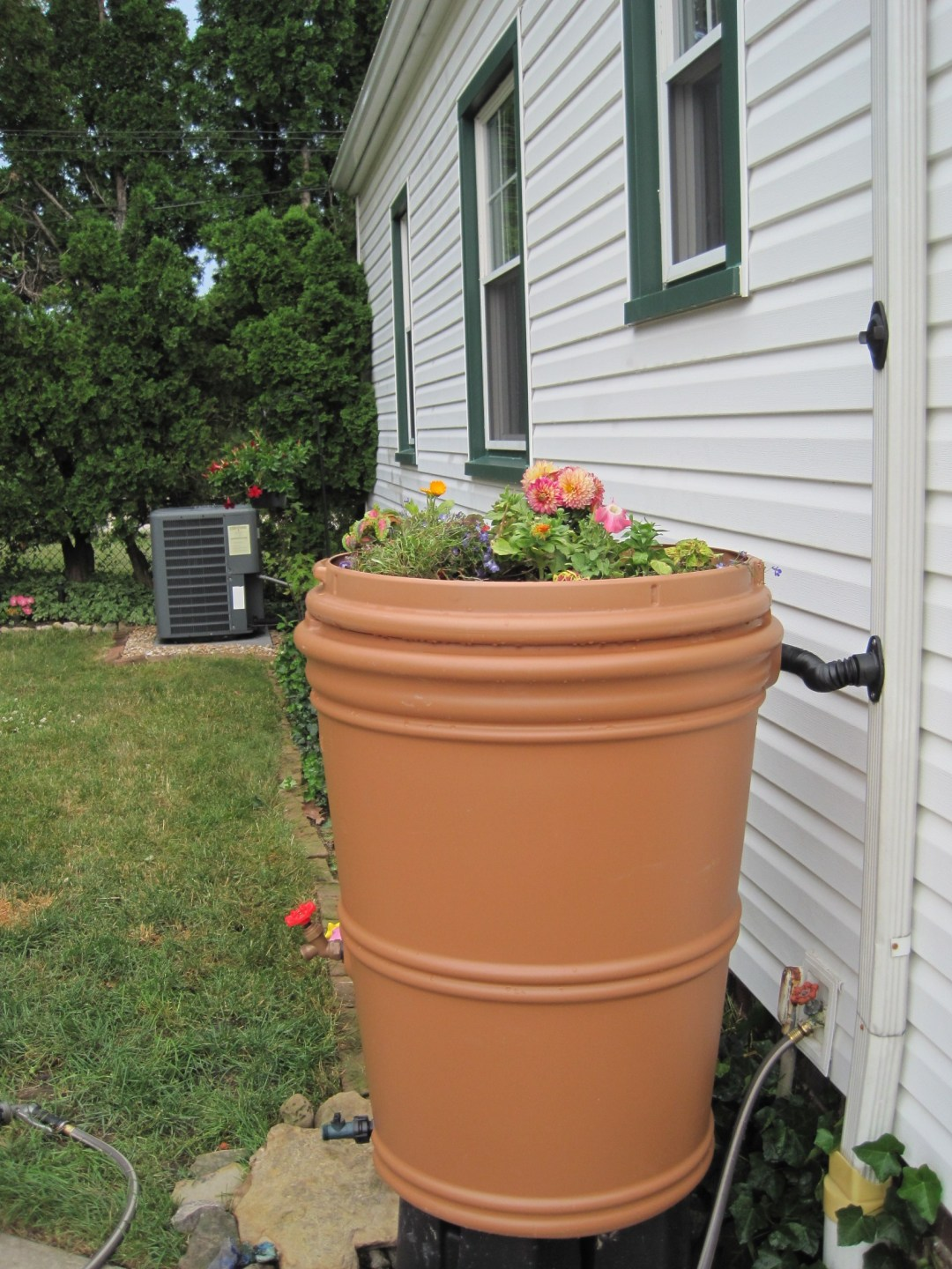 A rain barrel in Parma, Ohio helps reduce stormwater runoff.