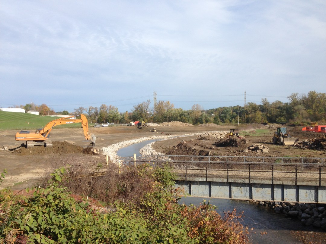 Construction along the West Creek riverbank.