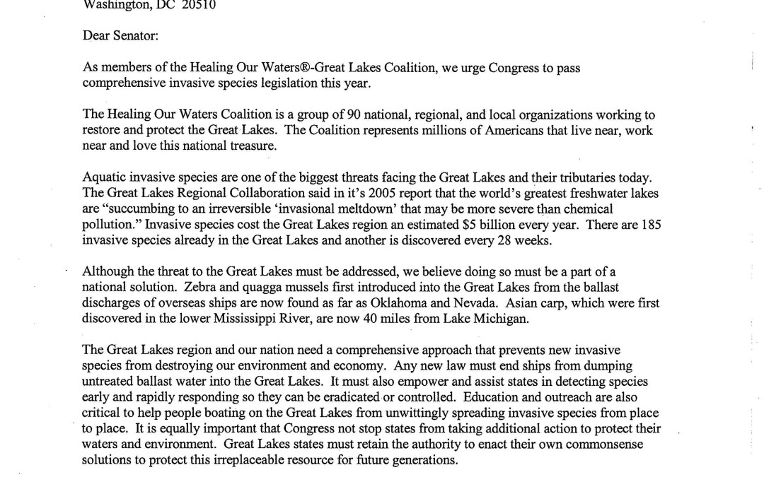 Coalition and others to U.S. Senate Regarding Invasive Species