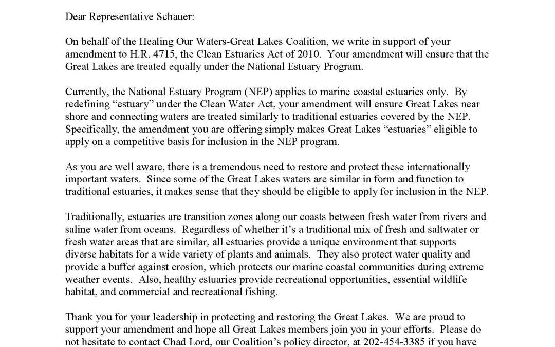 Coalition to Representative Schauer Regarding the Estuaries Act
