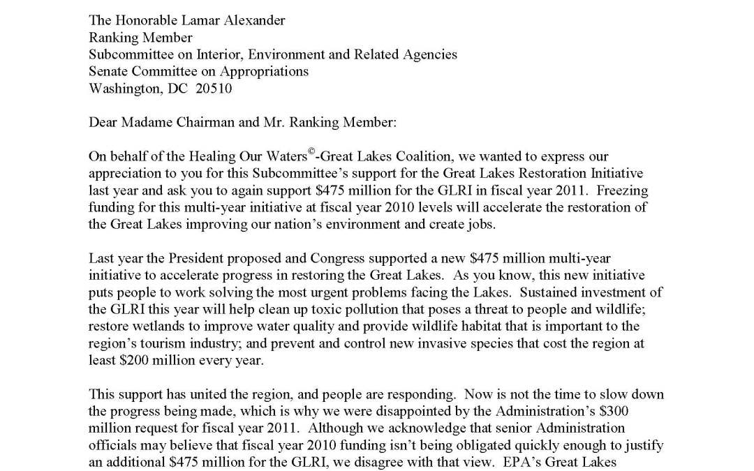 Coalition and Others to Senate Appropriators Regarding the Great Lakes Restoration Initiative