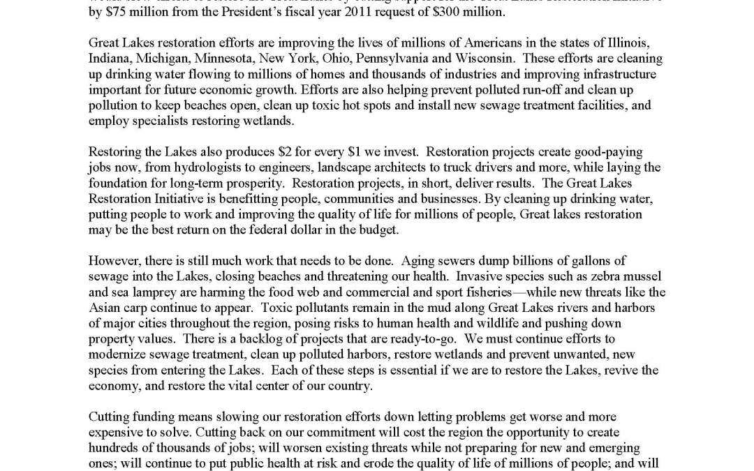 Coalition to Members of Congress Regarding Cuts to the Great Lakes Restoration Initiative