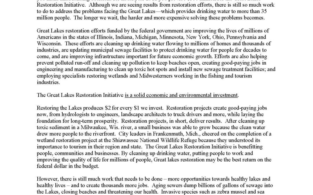 Coalition and Others to Members of Congress Regarding the Great Lakes Restoration Initiative
