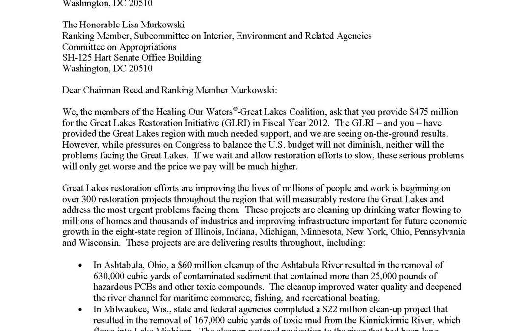 Coalition and Others to Appropriators Regarding the Great Lakes Restoration Initiative