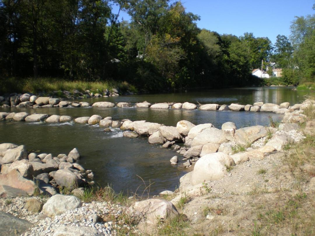 The Thornapple River with large boulders replacing the removed dam