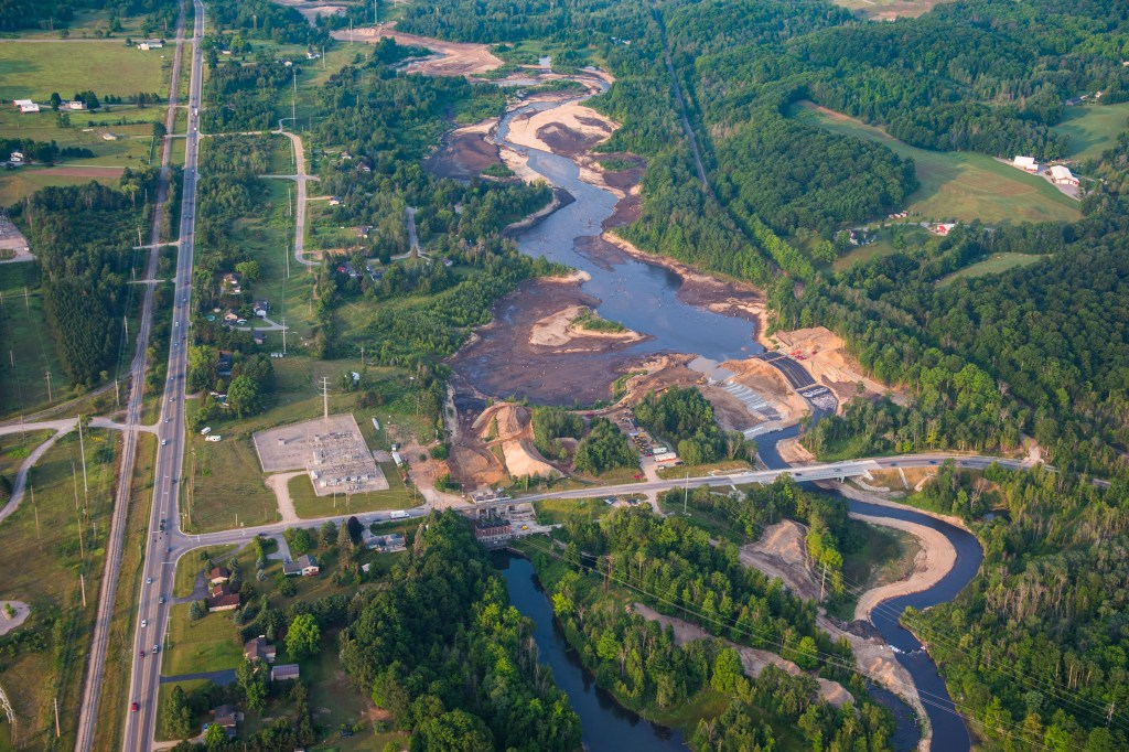 Boardman River Dam Removal from above.