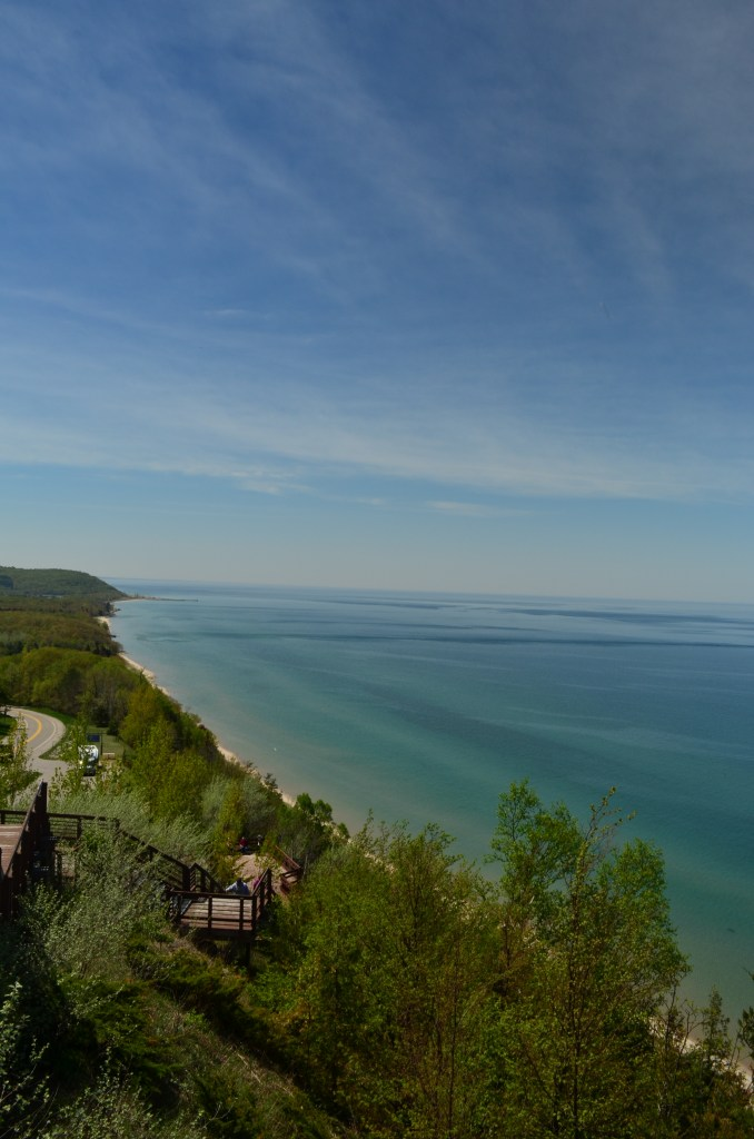 Sleeping bear dunes looking over Lake Michigan