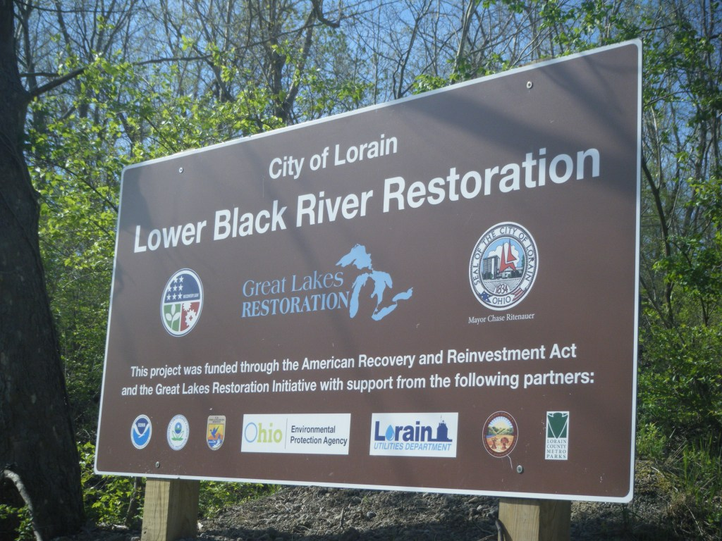 Lower Black River restoration project sign.