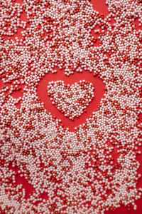 sprinkling with small heart on surface