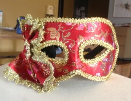 I forgot to bring a Halloween costume. So, I borrowed a mask.