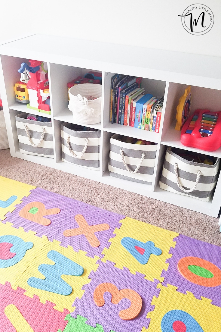 Playroom Storage Bins For Toys Organized On A Bookshelf For Safe Easy Clean  Up