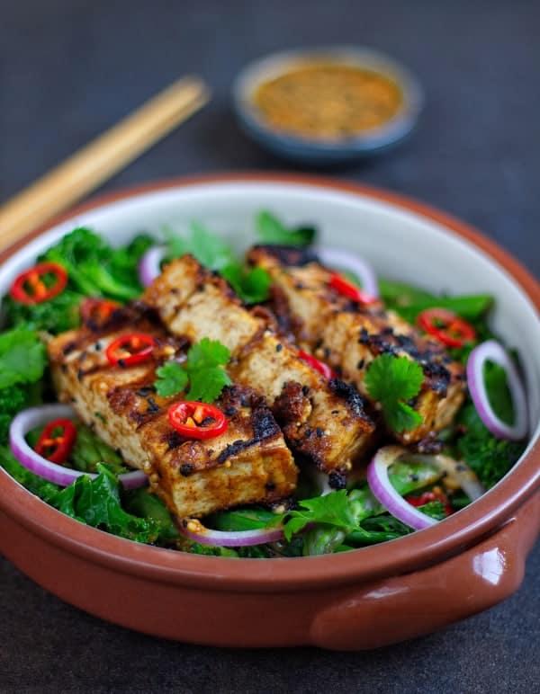 Crispy satay tofu front close