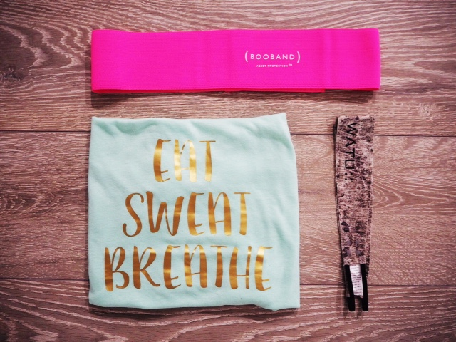 My workout essentials: The Booband, #eatsweatbreathe tank and Watu headband