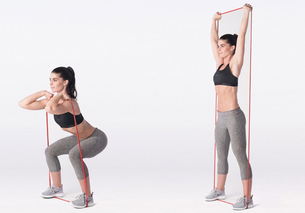 Powerband full body workout - overhead raise