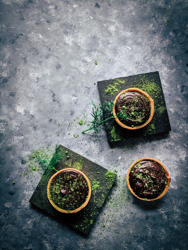 Matcha Dark Chocolate Tarts