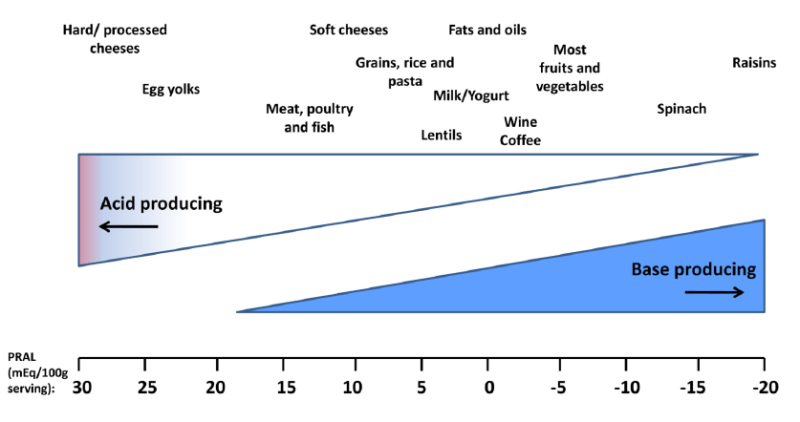 Figure 1 Estimated acid-producing potential of selected foods (from Scialla and Anderson (2013))