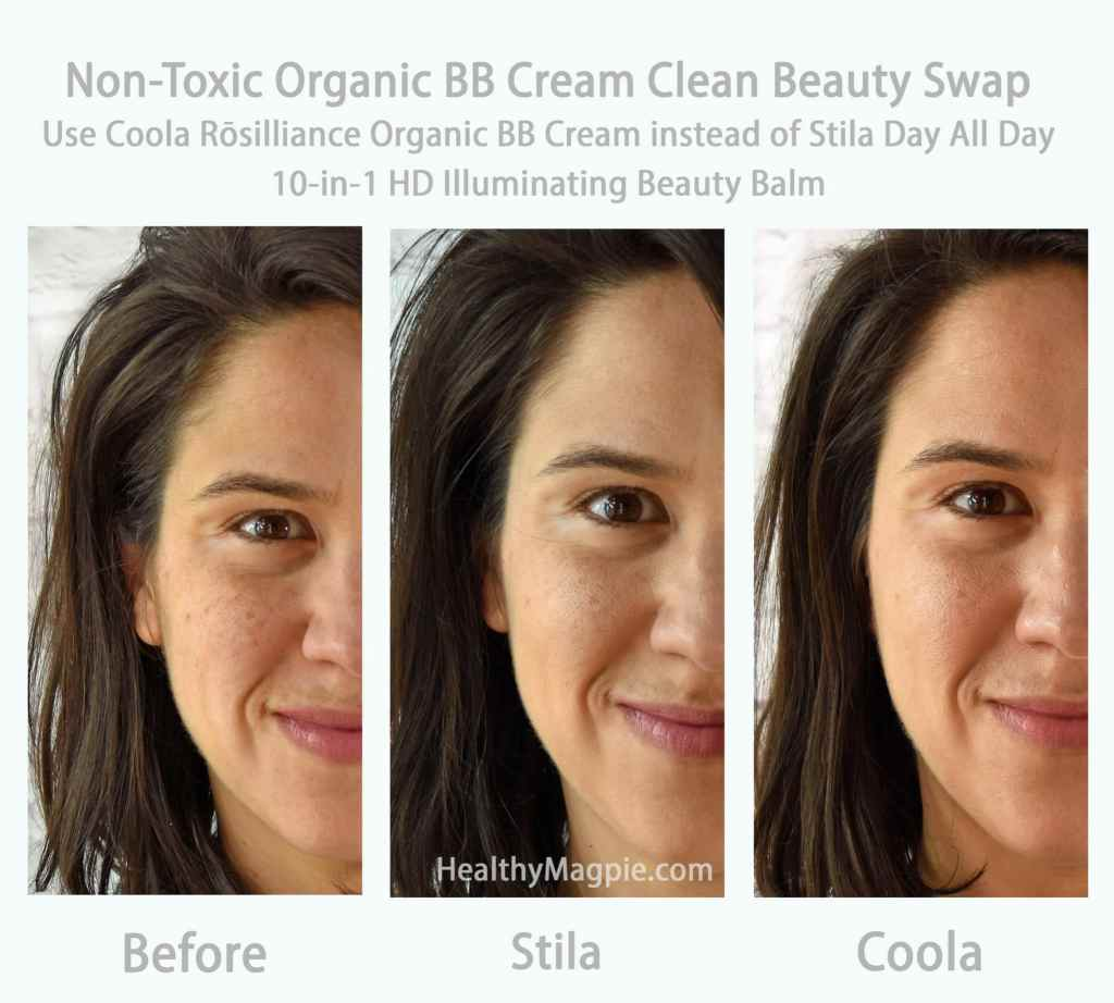 Before and After Picture of Clean Beauty Swap Review: Use Coola Rosilliance Organic BB Cream Beauty Balm with SPF 30 instead of Stila Stay All Day 10-in-1 HD Illuminating Beauty Balm. Both are Paraben Free Beauty Balms.