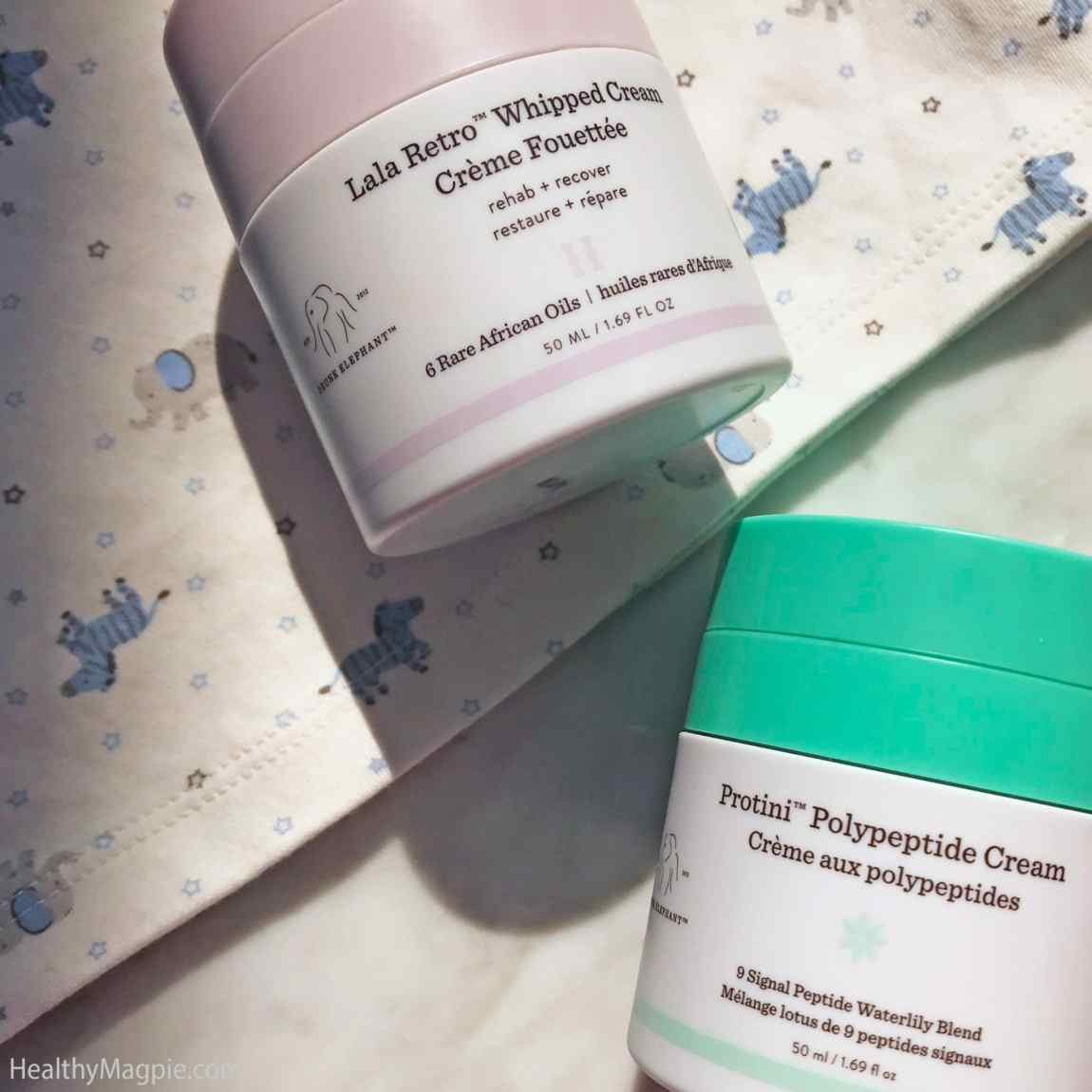 Review, pictures and comparison of Drunk Elephant clean skin care Protini Polypeptide Cream vs LaLa Retro Whipped Cream. I'm always interested in how creams can help with my melasma and hyperpigmentation.