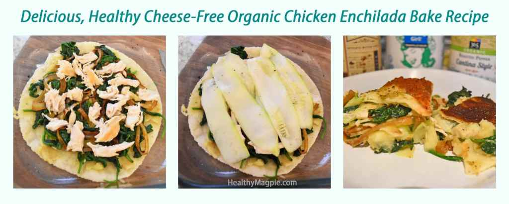 Pictures of my cheese free and potentially gluten free enchiladas bake casserole using Siete almond flour or cassava and coconut gluten free tortillas with a cumin sweet potato or white bean puree, caramelized onions, spinach and organic chicken.