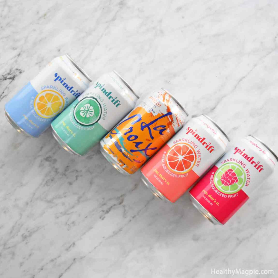 Pictures and reviews of Spindrift seltzer and La Croix sparkling water in Apricot