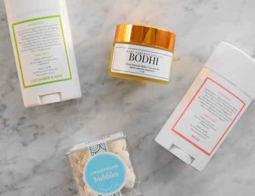 Native natural deodorant Rosé and Cucumber Mint aluminum free natural deodorant and Wabi-Sabi Botanicals Mimosa moisturizing balm concentrate picture and reviews with Sugarfina champagne bubbles