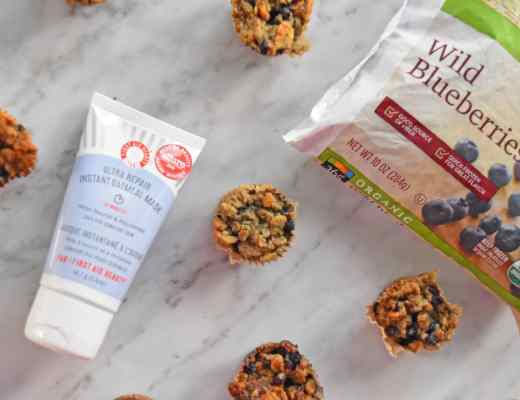 Review and picture of First Aid Beauty instant oatmeal mask and recipe for my delicious (yet vegan, gluten-free and no sugar added) Chia Oatmeal Blueberry Muffins