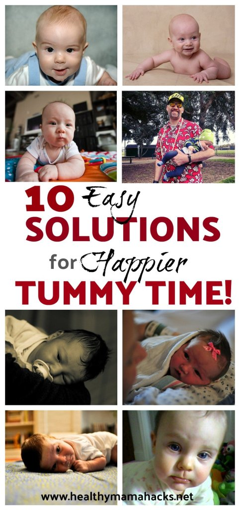 10 easy solutions to happier tummy time. Tummy time does not need to be fussy time. 10 great tips for easier fuss-free tummy time!