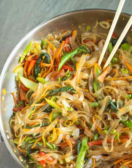 Vegetable Stir Fry With Mung Bean Noodles - Vegan Chinese Recipes
