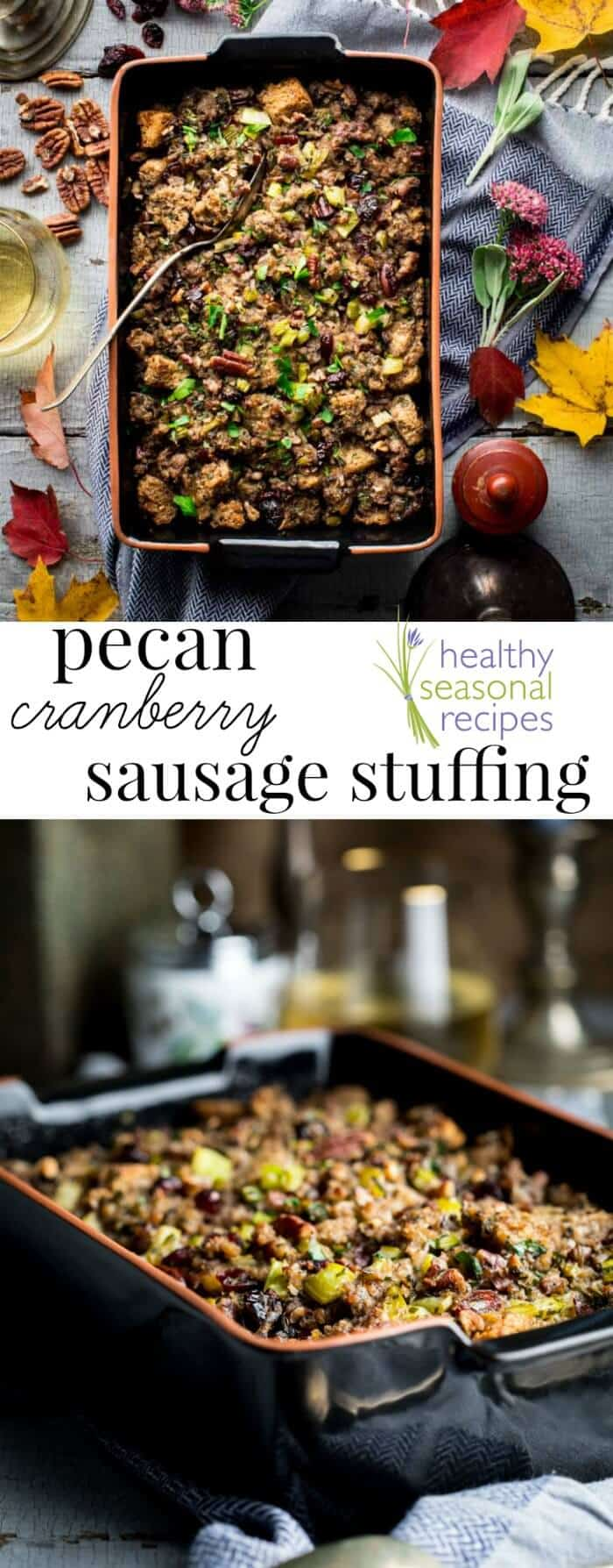 This Cranberry Sausage Stuffing recipe is a delicious and healthy make ahead classic side dish perfect for your Thanksgiving and Holiday table! | Healthy Seasonal Recipes | Katie Webster #Thanksgivingrecipe #sidedish #stuffingrecipe Thanksgiving #stuffing #dressing #sausage #pecans #cranberry #makeahead
