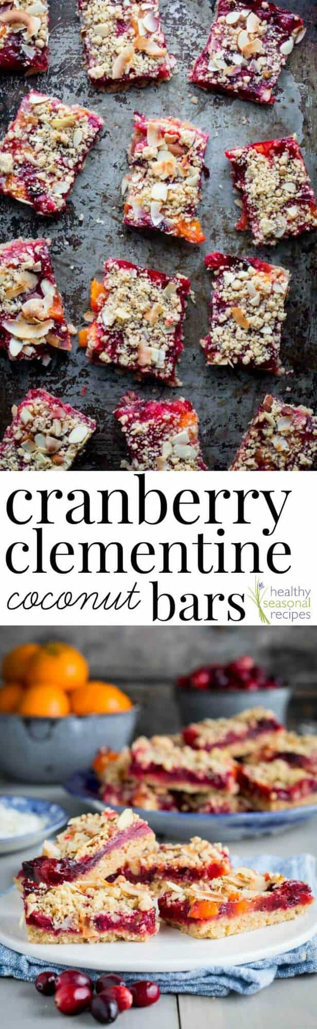 These tender and sweet tart Cranberry Crumb Bars with Coconut and Clementine are a sure hit for holiday baking desserts and snacks | Healthy Seasonal Recipes #christmas #baking #dessert #snack #cranberry #clementine