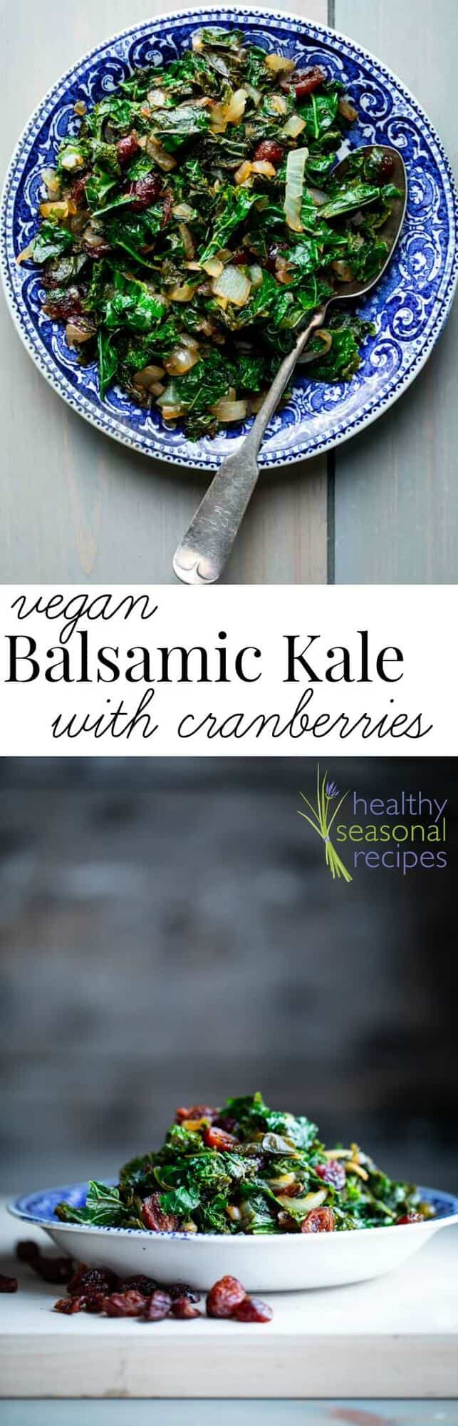 Vegan Kale with Balsamic Vinegar {Paleo} | This simple side dish balances sweet and sour with dried cranberries and a splash of balsamic vinegar. Try it with grilled meat, baked chicken or as part of a healthy vegetarian weeknight meal. #cleaneating #vegan #glutenfree #paleo #vegetarian #kale #easy #healthy