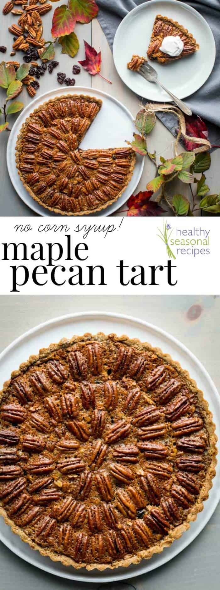 This No Corn Syrup Pecan and Dried Cherry Tart with Maple is a healthy twist on pecan pie for Thanksgiving and the winter holidays. | Healthy Seasonal Recipes | Katie Webster #tart #thanksgiving #holiday #maple #pie #pecanpie