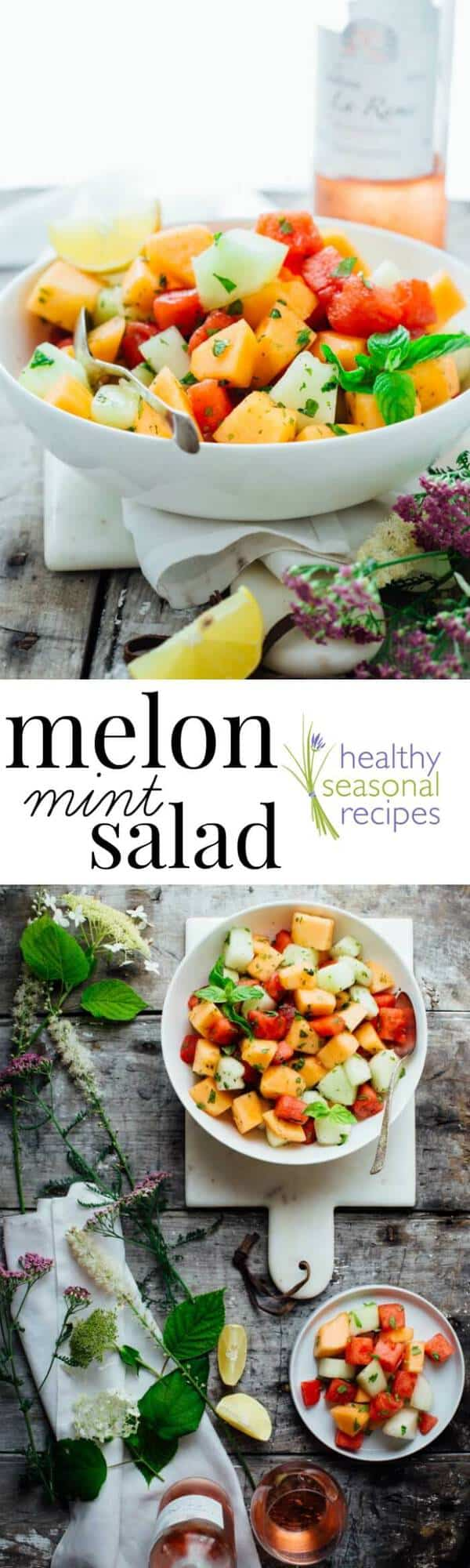The 4 ingredient Melon and Mint Salad recipe I have for you today is utterly delicious in its simplicity. It takes just 10 minutes and is totally gluten free and dairy free! | Healthy Seasonal Recipes | Katie Webster #melon #fruitsalad #healthy #brinch #easter #fruit #mothersday #glutenfree #honey