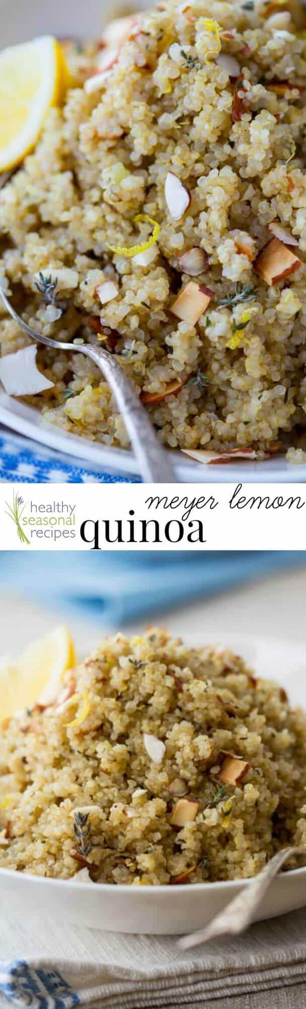 This meyer lemon quinoa comes together in about 30 minutes and is a simple, yet flavorful gluten-free side dish. Perfect with fish, veggies, & in salads! #lemon #meyerlemon #quinoa #glutenfree #sidedish #30minutes #easy #healthy #wholefoods #cleaneating
