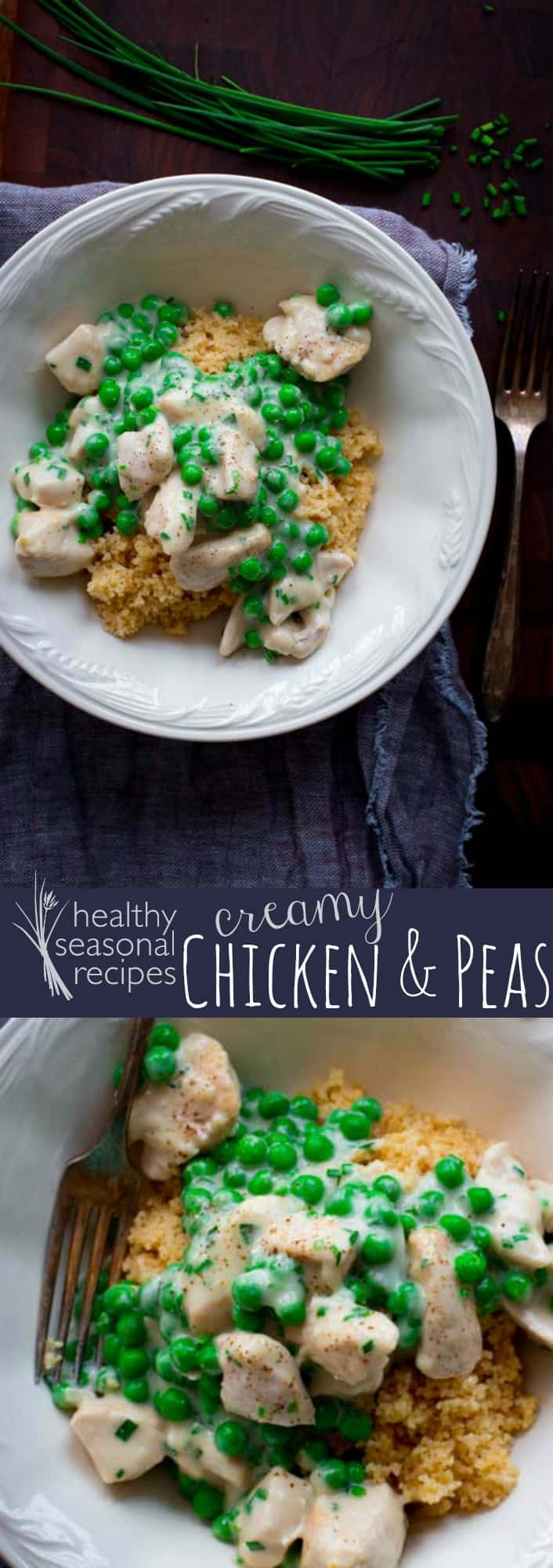 These creamy chicken and peas are are in only 18 minutes! This is an easy and healthy kid-friendly weeknight dinner. Serve over rice or pasta! #chicken #peas #dinner #weeknight #healthy #chives #sourcream #fast #quick #easy