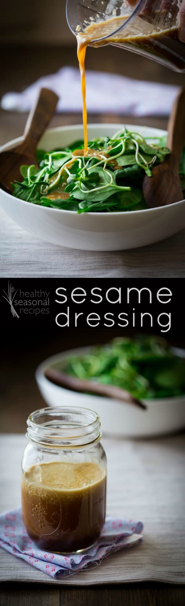 A 5-minute Asian Sesame Dressing made with orange juice to extend its shelf life and keep the amount of oil below 50% of the volume. #sesame #dressing #saladdressing #asian #salads #vinaigrette #healthy #easy #vegan #vegetarian #glutenfree