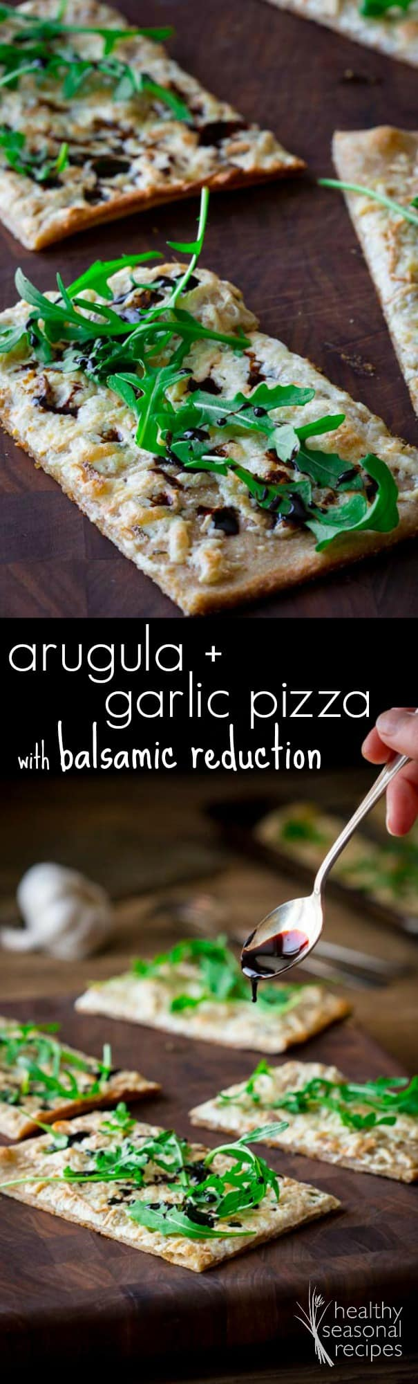 This garlic and arugula pizza with balsamic reduction takes 15 minutes to prep! Add rosemary and smoked cheese to this homemade pizza for more even flavor. #arugula #garlic #pizza #pizzarecipe #vegetarian #vegetarianrecipe #homemade #healthy #15minutes #fast #easy