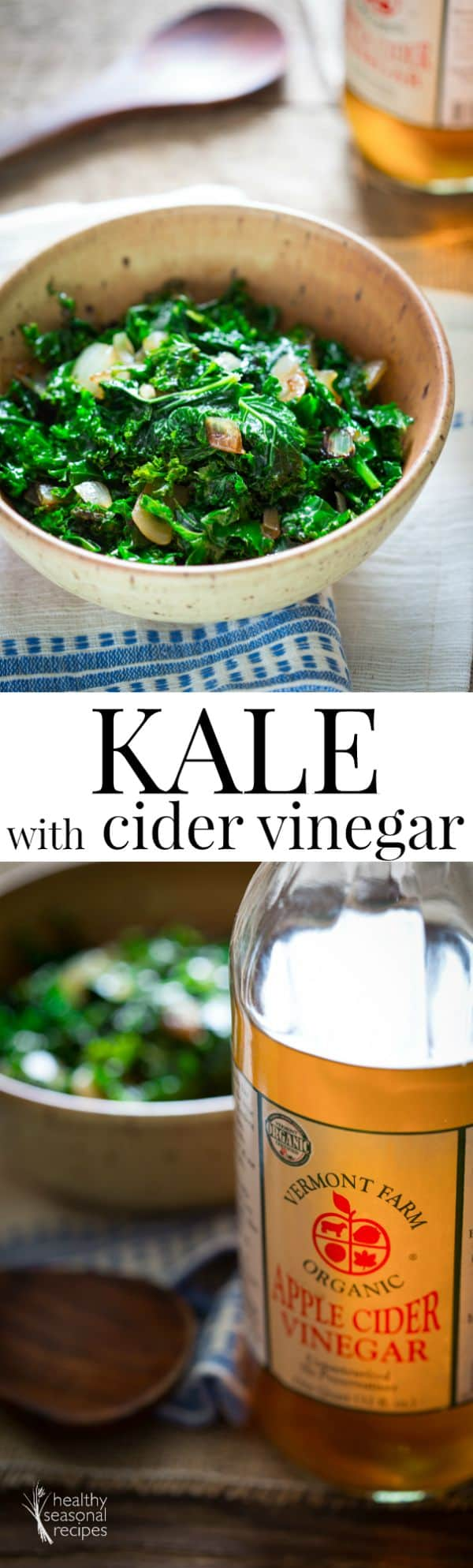 This sauteed kale with cider vinegar is super easy. Just saute onions and kale, then wilt with water, and add the vinegar at the end! Gluten-free and paleo. #kale #onion #ACV #vinegar #healthy #sidedish #glutenfree #vegan #paleo #vegetarian