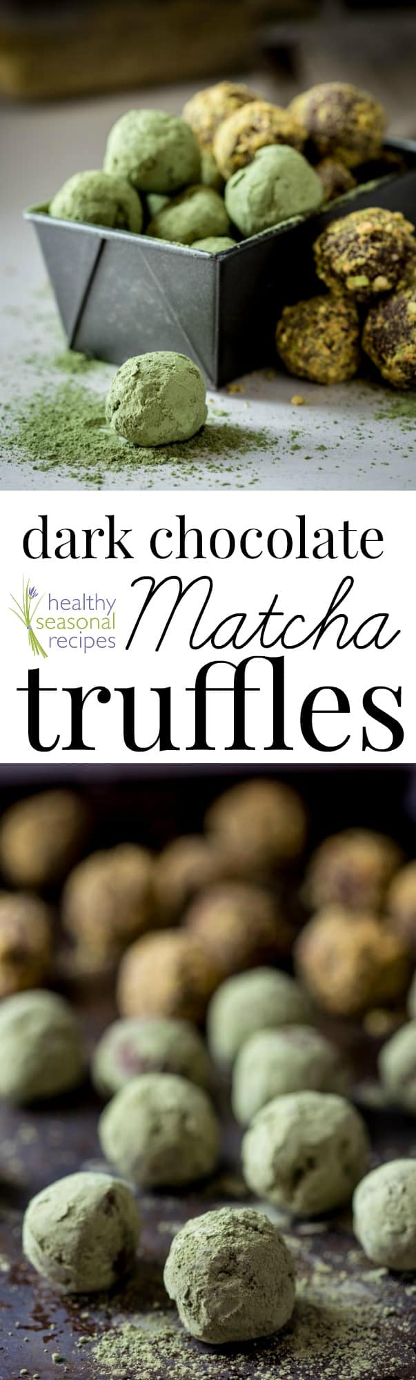 These 5-ingredient dark chocolate truffles include one flavorful secret ingredient: matcha! These truffles make for a great gift around the holidays. #matcha #chocolate #darkchocolate #truffles #dessert #easy #dessertrecipe
