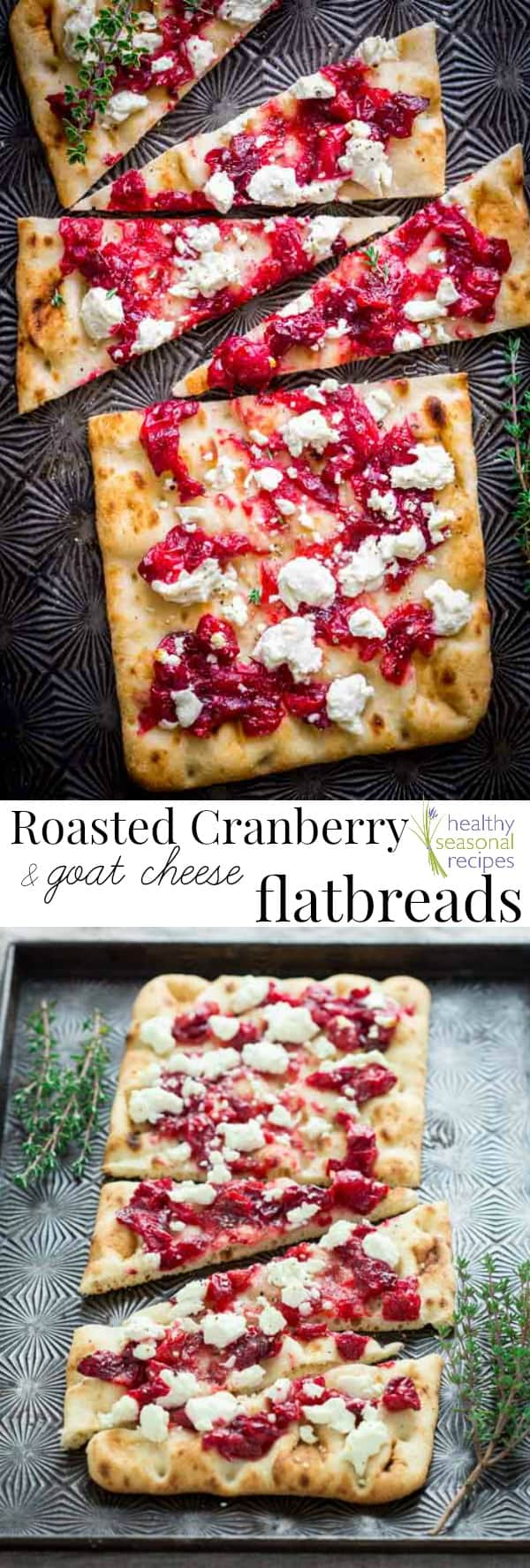 Mix up your holiday party with this festive appetizer recipe: Roasted Cranberry Flatbreads, made with store-bought pizza crust and cranberries roasted with maple syrup, shallot and thyme. They are savory and sweet and topped with crumbled goat cheese! #party #holiday #Christmas #appetizer #horsdoeuvres #tapas #cranberry #pizza