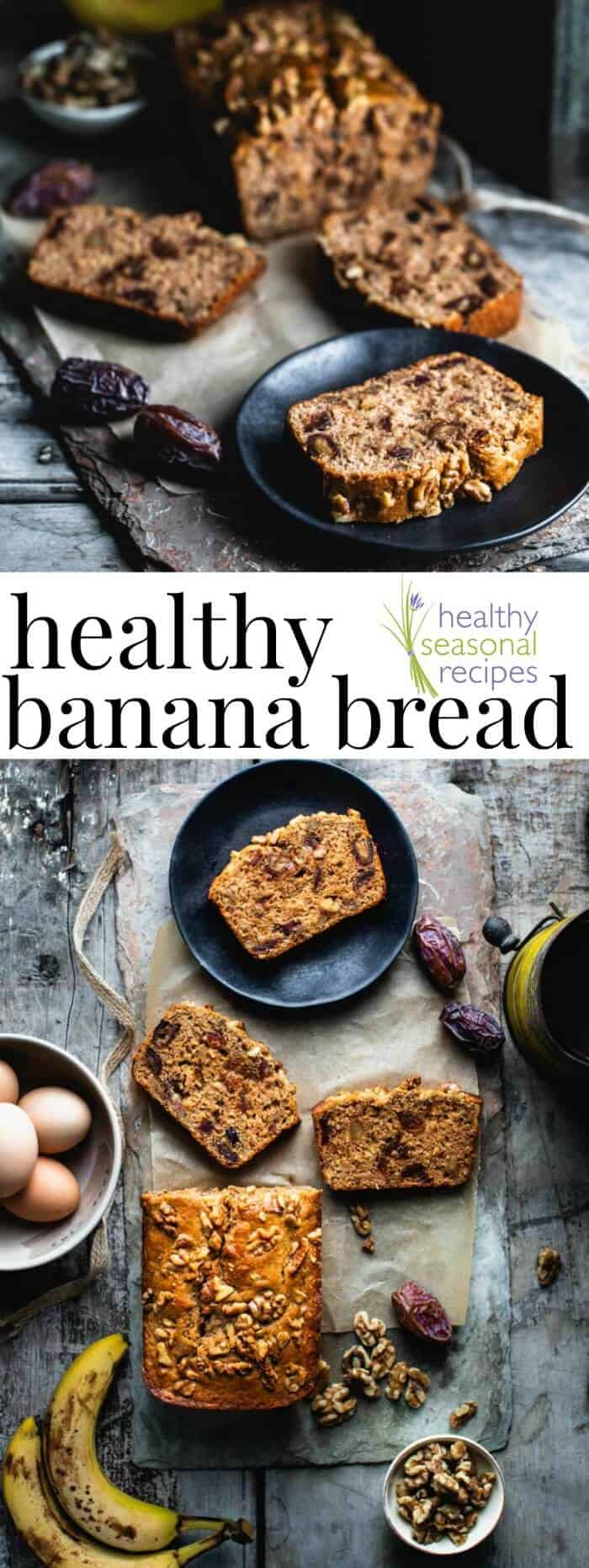 This whole-grain healthy banana bread is naturally sweetened with pure maple syrup and dates. Bonus: it's refined sugar-free! #wholewheat #norefinedsugar #healthy #baking #bananabread #snack #breakfast #easter #dates #walnuts #healthyseasonal #bread