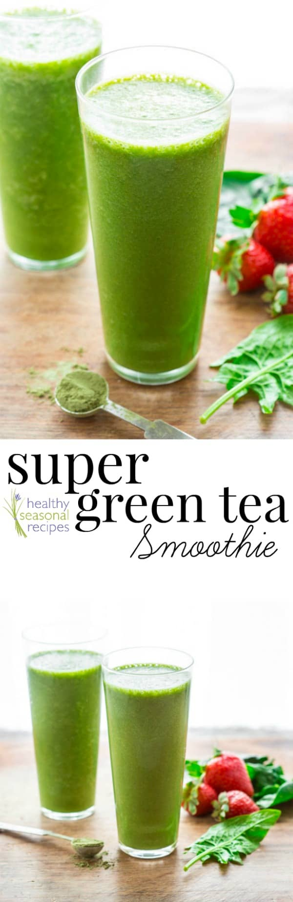 This Super Green Tea Smoothie gets its color from spinach and matcha green tea powder. It's loaded with protein, vitamins and antioxidants! #antioxidant #healthy #smoothie #greentea #matcha #spinach #smoothierecipe #breakfast #protein #breakfastrecipe #vegan #veganrecipe