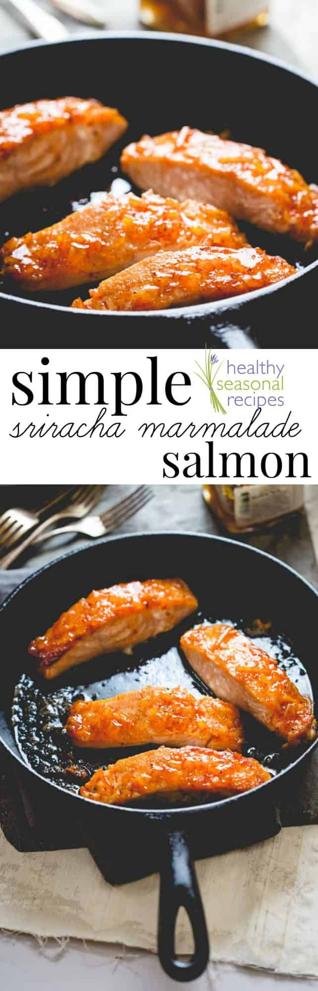 This Simple Sriracha Marmalade Glazed Salmon by Healthy Seasonal Recipes is a great weeknight entree and ready in under 20 minutes! #salmon #healthy #glutenfree #fish #seafood