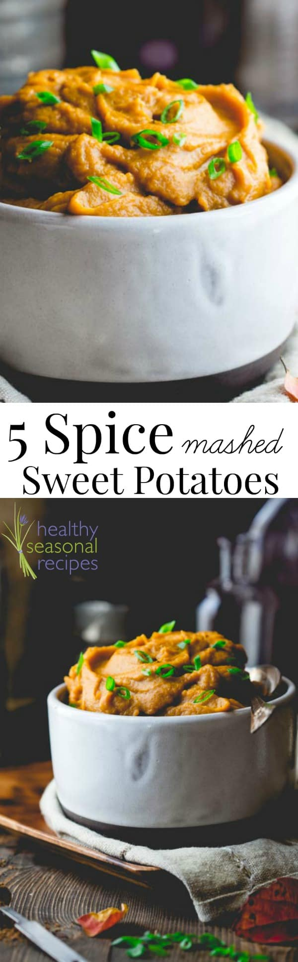 I dare you to not fall in love with these paleo five spice healthy mashed sweet potatoes! They make for an easy side dish during the cooler months. #paleo #vegan #healthy #sweetpotato #sweetpotatoes #mashedpotatoes #thanksgiving #sidedish #easy #cleaneating #fivespice