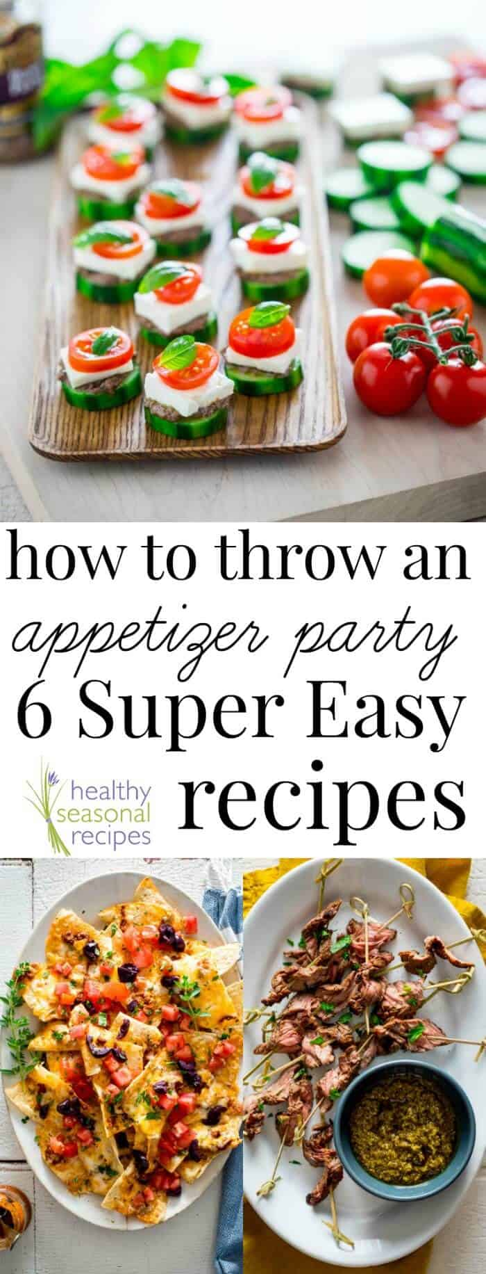 How to Throw an appetizer party with 6 easy recipes. Just throw these recipes together with store-bought pesto and a few simple ingredients! @healthyseasonal #appetizer #tapas #party