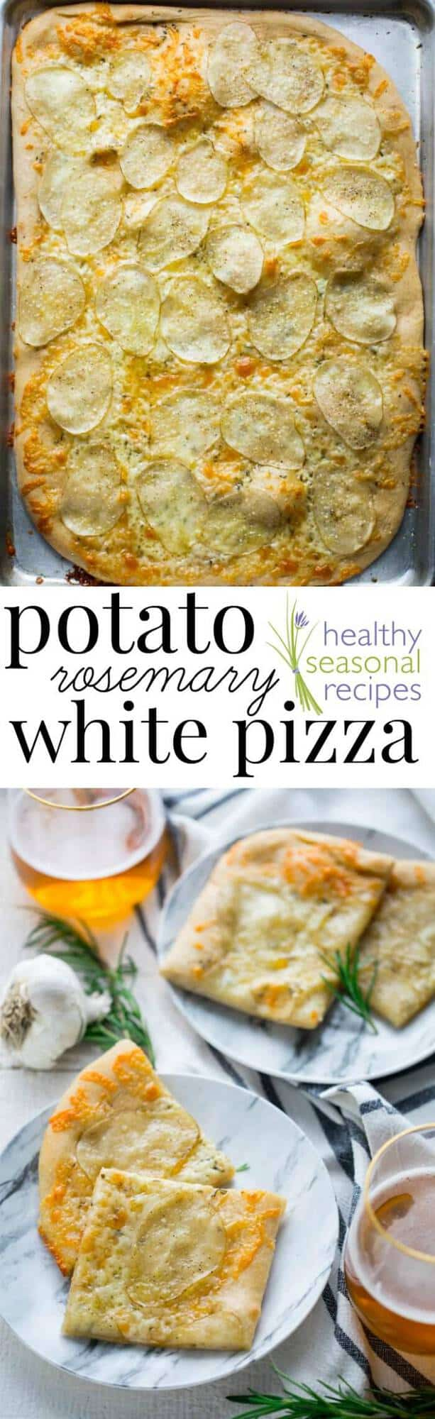 Have you heard of potato pizza before? If not, keep an open mind, and prepare your taste buds for a surprisingly delicious combination. In this white pizza version, I have a bit of rosemary, garlic and cheddar cheese to make it super savory and yummy! #vegetarian #pizza #whitepizza #potato #cheddar