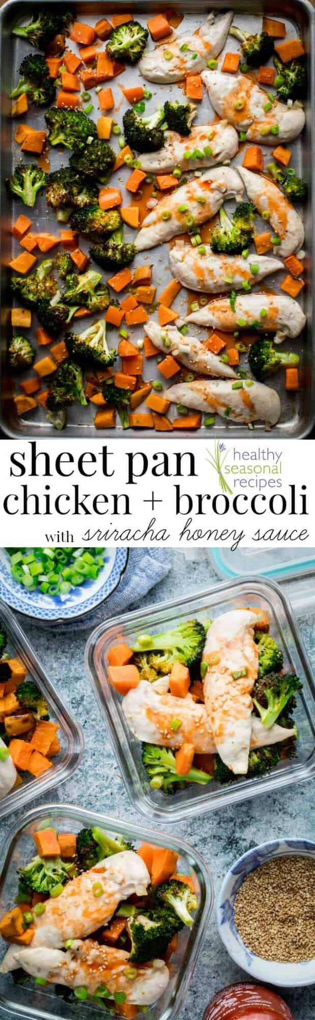 Oven Baked Sheet Pan Chicken and Broccoli Supper with Honey Sriracha Sauce- an easy meal prep friendly one pan dinner from Healthy Seasonal Recipes by Katie Webster #veggies #chicken #ovenbaked #healthyrecipes #broccoli #dinner #mealprep #paleo #onepan #sesame
