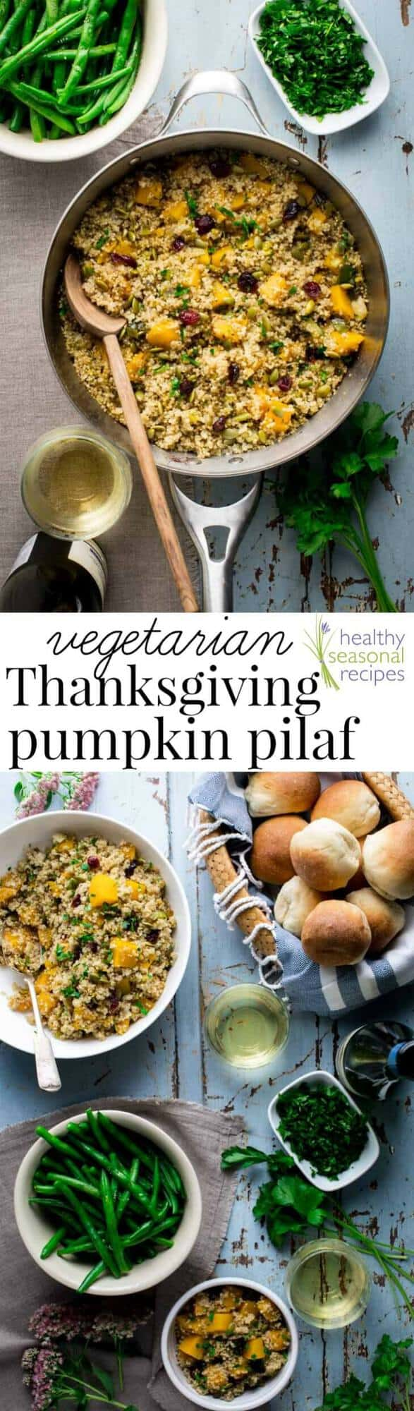 This Vegetarian Thanksgiving Pilaf with Pumpkin and Quinoa is a simple stove-top, one-pot recipe that is too good to save just for Thanksgiving! Try it for a gluten-free vegan weeknight meal while fresh pumpkin is in season. #vegetarian #thanksgiving #vegan #quinoa #onepot #stovetop #glutenfree #pumpkin #healthy #sidedish #weeknight #healthyseasonal