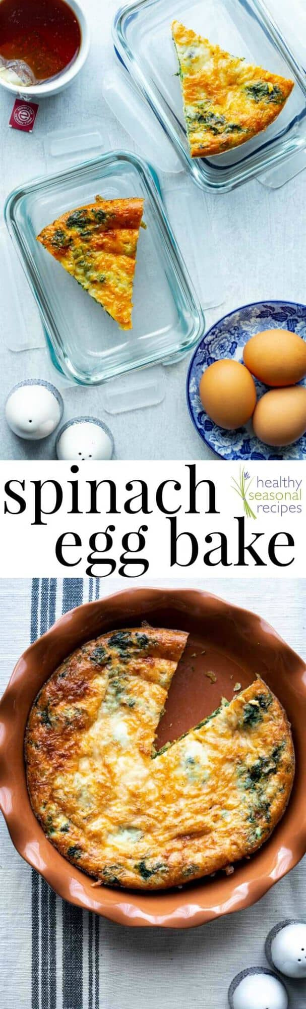 Spinach Egg Bake with sharp cheddar cheese, a grain-free meal prep breakfast recipe to make on the weekend, then grab and go on weekdays. Great for gluten-free, low-carb or keto diets and a since egg bakes are high in protein you'll stay full until lunchtime. #keto #glutenfree #eggbake #spinach #vegetarian #glutenfree #grainfree #primal #lowcarb